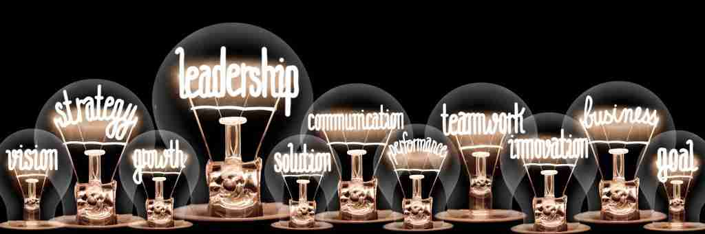 NLP Practitioner Training - image of lighbulbs containing word such as leadership, communication, goal, etc.